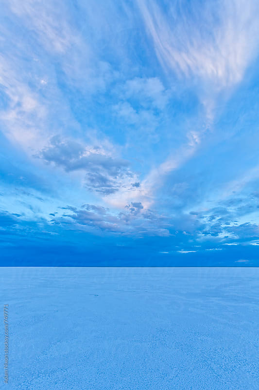 Storm clouds over Bonneville Salt Flats, Utah by Adam Nixon for Stocksy United