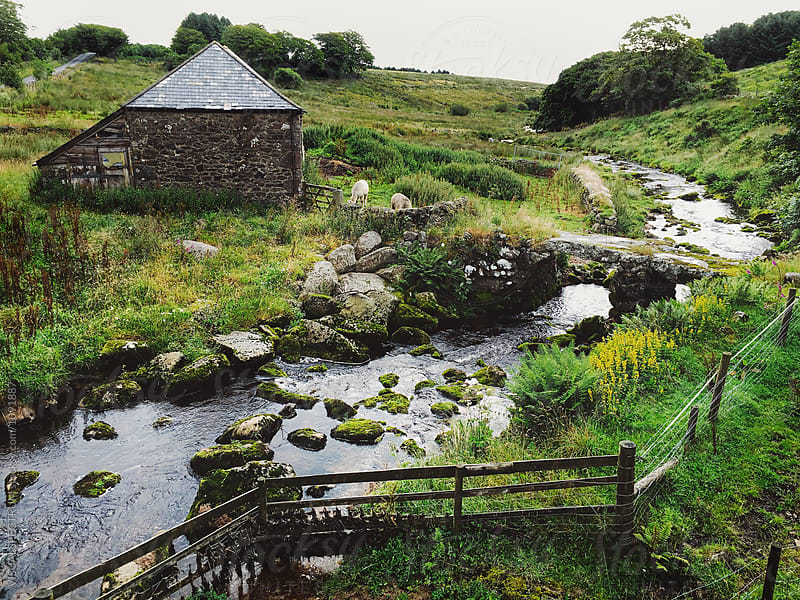 Old-Fashioned Stone Cottage by River in Dartmoor National Park (Devon, England) by Julien L. Balmer for Stocksy United