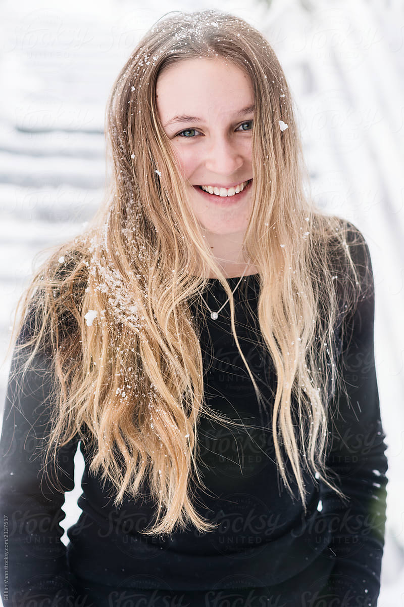 661055420df7 Winter Portrait Of Pretty Teenage Girl With Long Hair