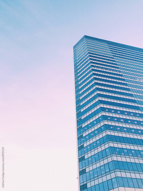 Office building at dawn with gradient sky by Adrian Cotiga for Stocksy United