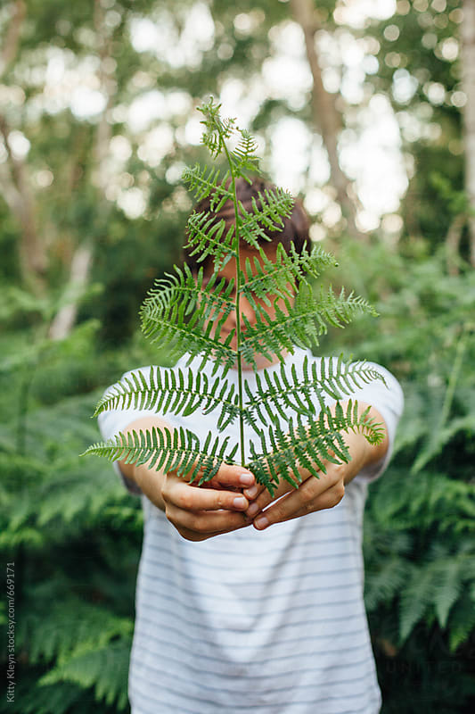 Man holding fern by Kitty Gallannaugh for Stocksy United