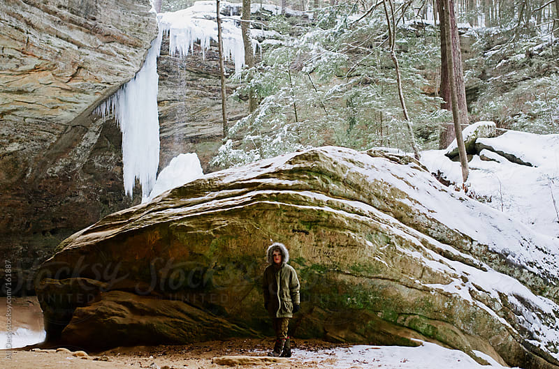 Boy at Ash Cave by Ali Deck for Stocksy United
