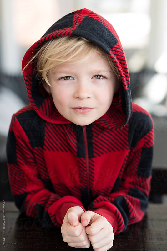 Portrait of Mischievous Blonde Little Boy With Messy Hair by JP Danko for Stocksy United