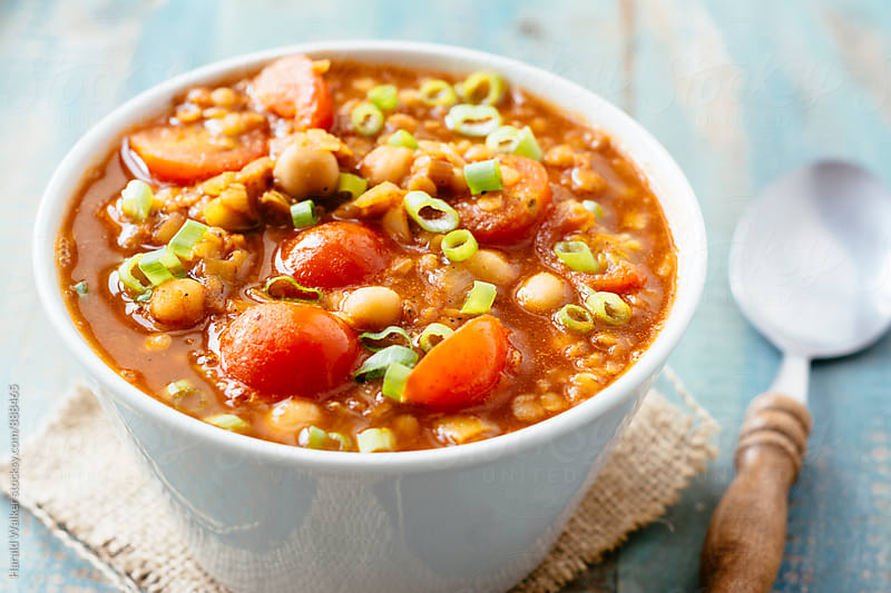 Red Lentil and Chickpea Soup by Harald Walker for Stocksy United
