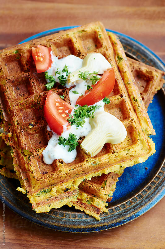 Falafel Waffles with Tzatziki Sauce by Harald Walker for Stocksy United
