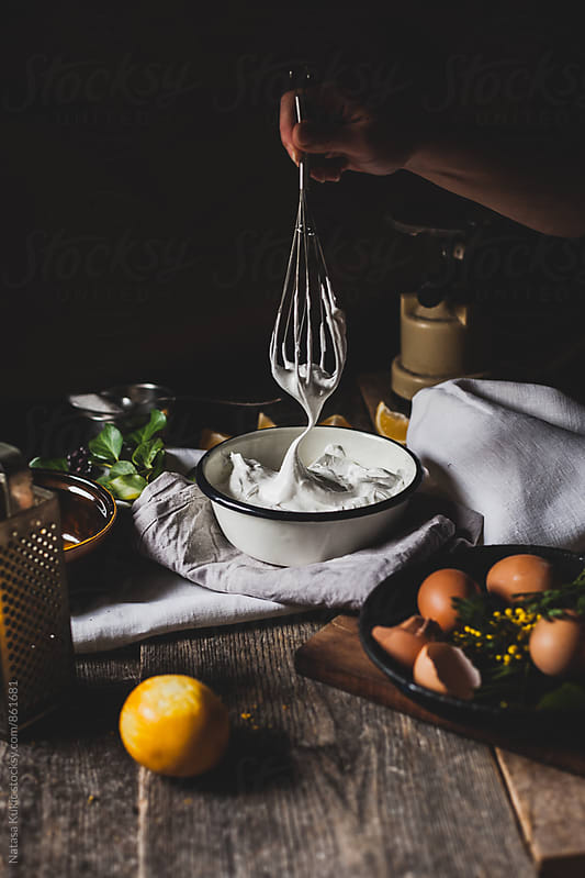 Egg whites beaten strongly with sugar,meringue by Natasa Kukic for Stocksy United