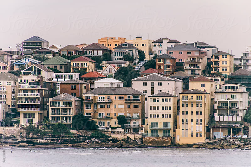 Houses next to the sea, Bondi beach, Sydney, Australia by Alejandro Moreno de Carlos for Stocksy United