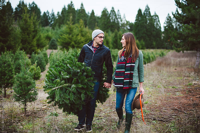 Attractive young couple at christmas tree farm in the winter. by Kate Daigneault for Stocksy United