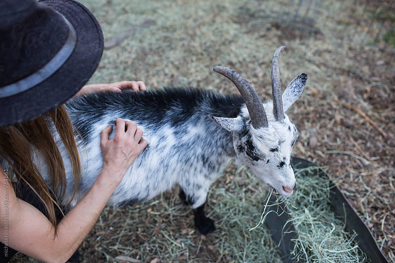 Woman cuddles her goat by michela ravasio for Stocksy United