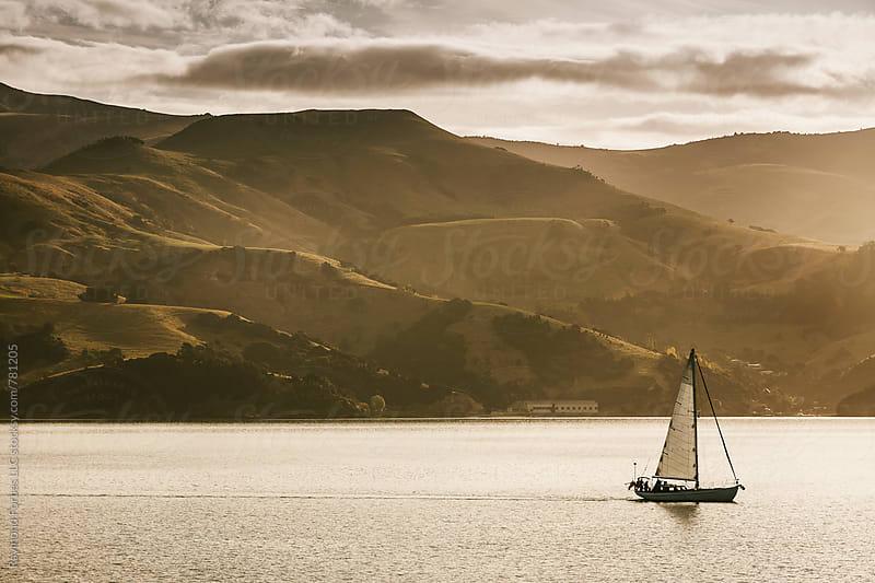 Sailboat in Akaroa Harbor, New Zealand by Raymond Forbes LLC for Stocksy United