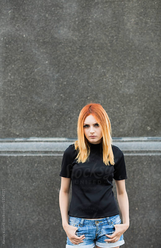 Cool Young Woman with Red Hair