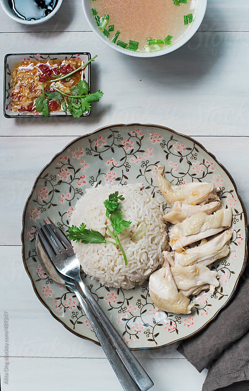 Home cooked chicken rice by Alita Ong for Stocksy United