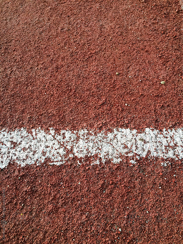 Detail of running track by German Parga for Stocksy United