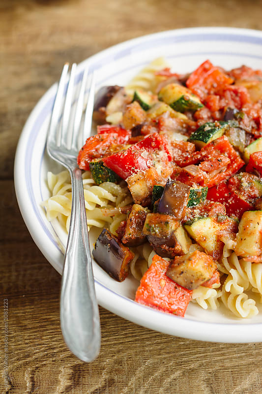 Ratatouille on Pasta by Harald Walker for Stocksy United