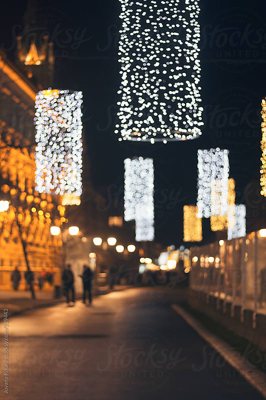 Decorated street for the New Year and Christmas by Jovana Rikalo for Stocksy United