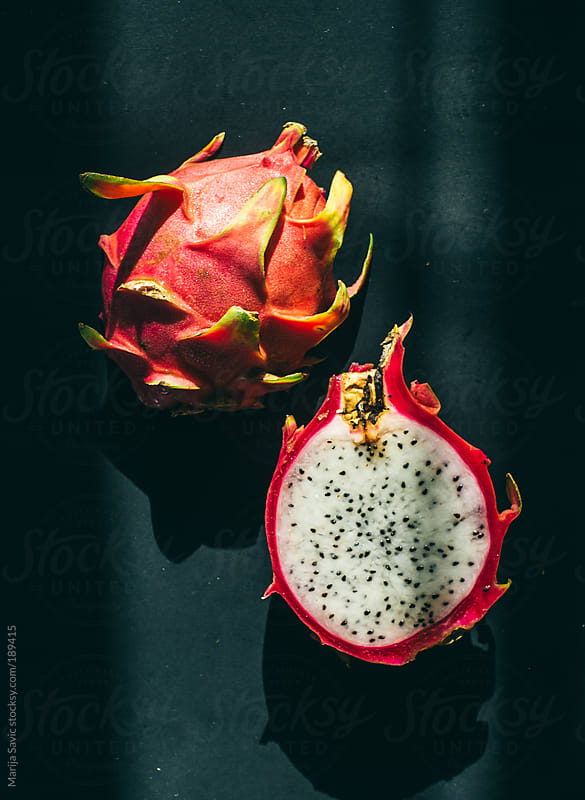 Dragon Fruit on Dark Background by Marija Savic for Stocksy United