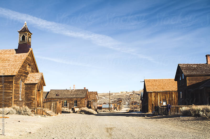 Deserted Street in Creepy Ghost Town from the Gold Rush by Meg Pinsonneault for Stocksy United