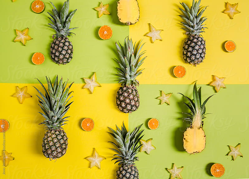Cute pineapple tropical pattern  by Jovo Jovanovic for Stocksy United