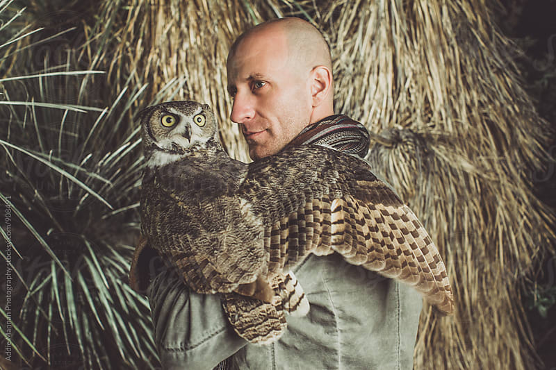 A man and his owl by Addie Mannan Photography for Stocksy United