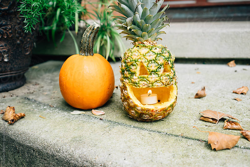 Pineapple Jack-O'-Lantern  by Austin Rogers for Stocksy United