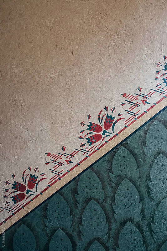 Retro Wall Painting Detail in Staircase by Julien L. Balmer for Stocksy United