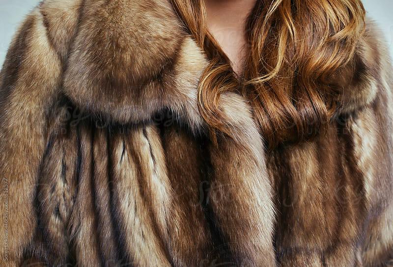 brown fur coat closeup by Sonja Lekovic for Stocksy United