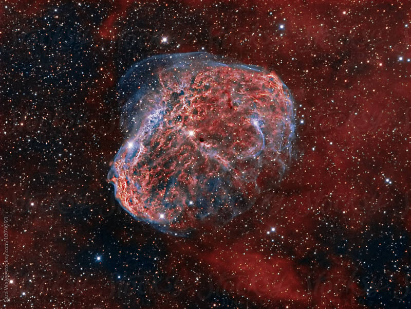 NGC6888  The Crescent nebula in colour by Sara Wager for Stocksy United
