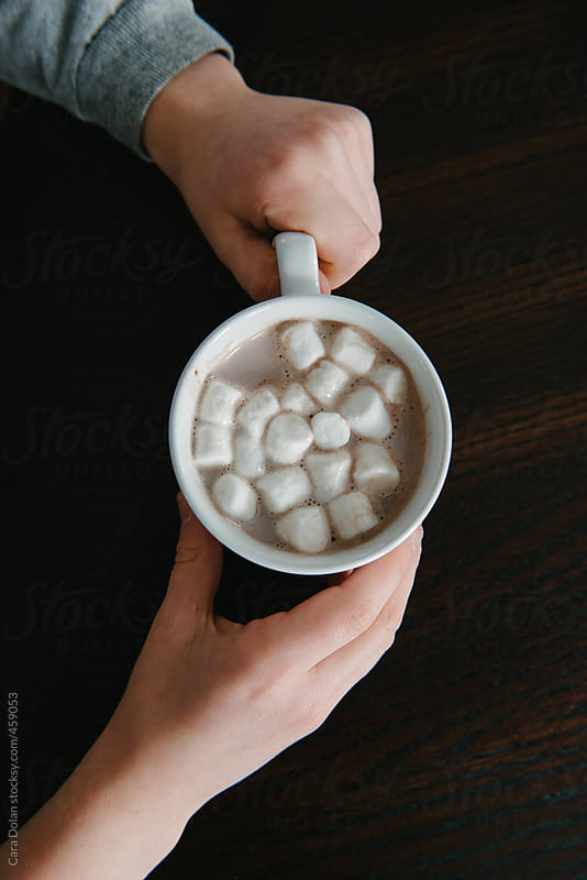 Child holds a mug of hot cocoa with mini marshmallows by Cara Dolan for Stocksy United