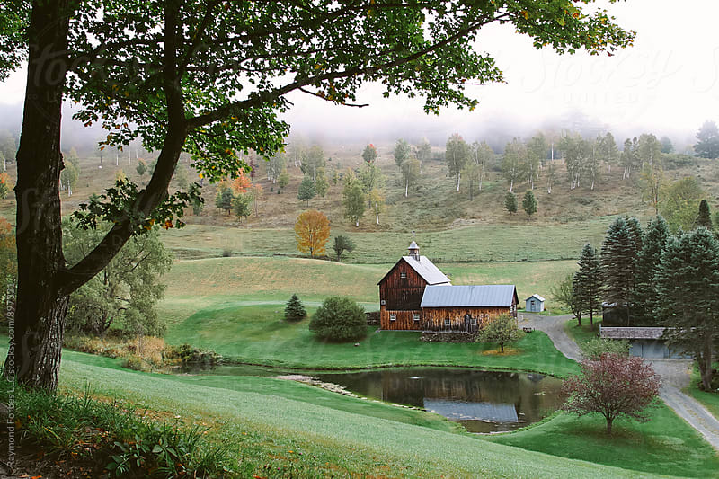 Farm in Vermont in Autumn  by Raymond Forbes LLC for Stocksy United