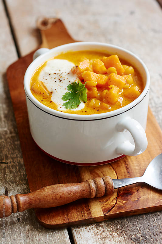 African Spiced Yellow Split Pea and Sweet Potato Soup by Harald Walker for Stocksy United