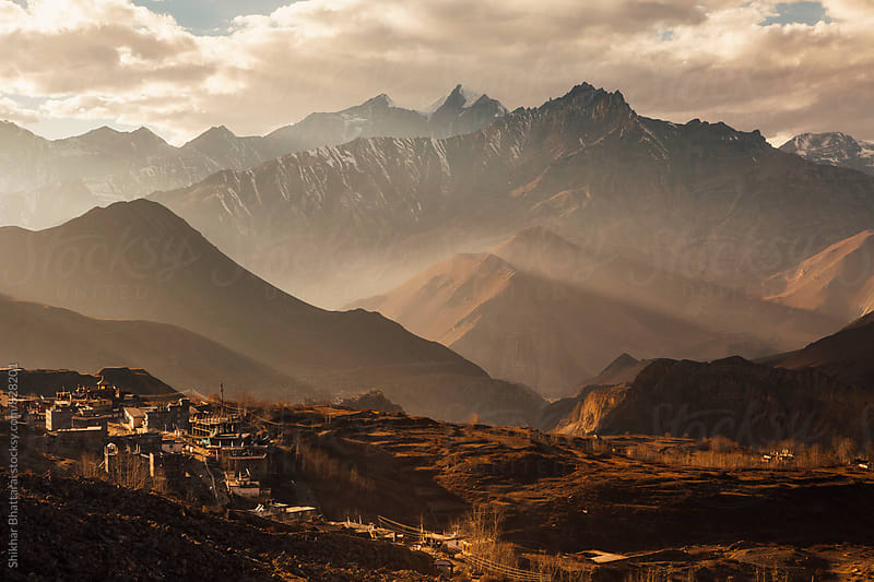 Layers of mountains seen from the town of Muktinath, Mustang Region, Nepal. by Shikhar Bhattarai for Stocksy United