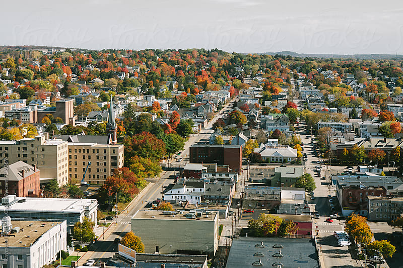Aerial View of Downtown Manchester, New Hampshire by Raymond Forbes LLC for Stocksy United