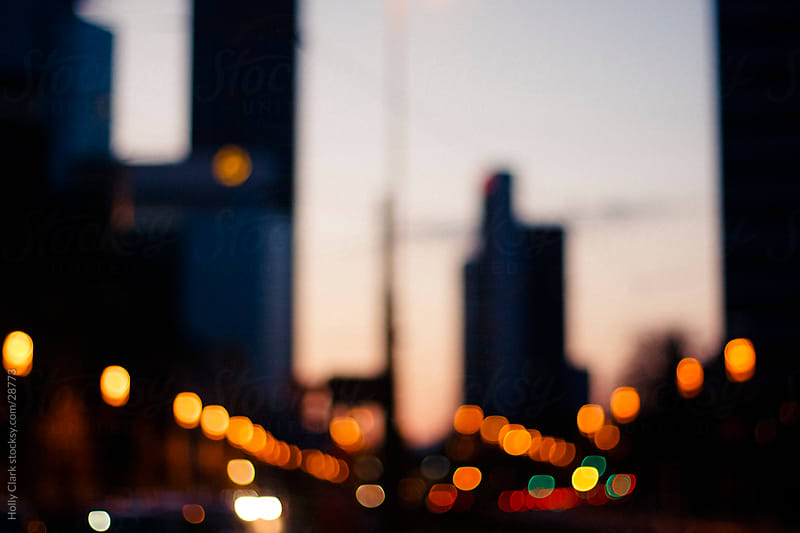 Frankfurt Skyline with Lights at Twilight by Holly Clark for Stocksy United