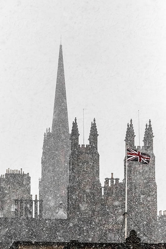 Edinburgh Partial Skyline with Snow by Helen Sotiriadis for Stocksy United