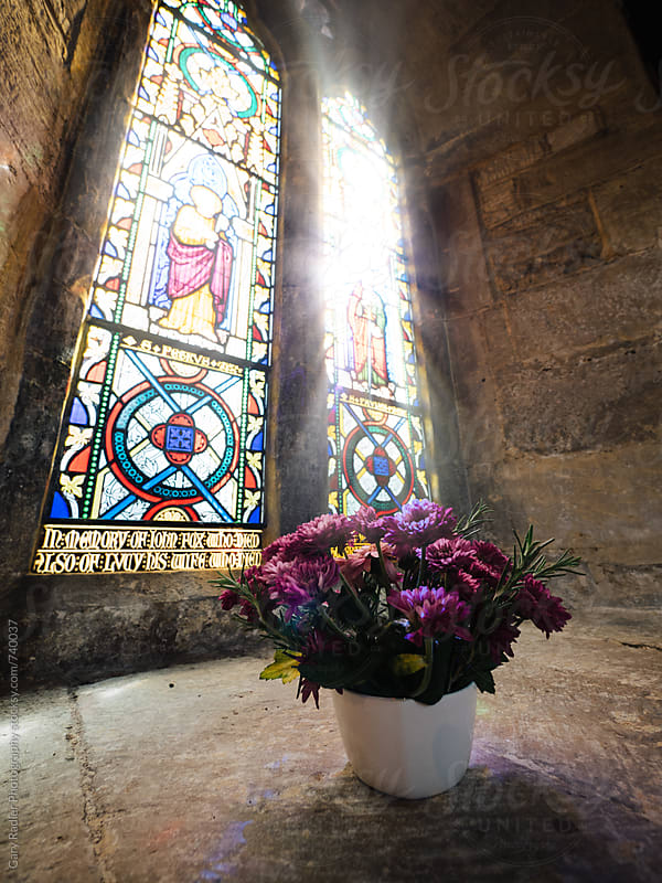 Flower Pot on Church Window Sill by Gary Radler Photography for Stocksy United