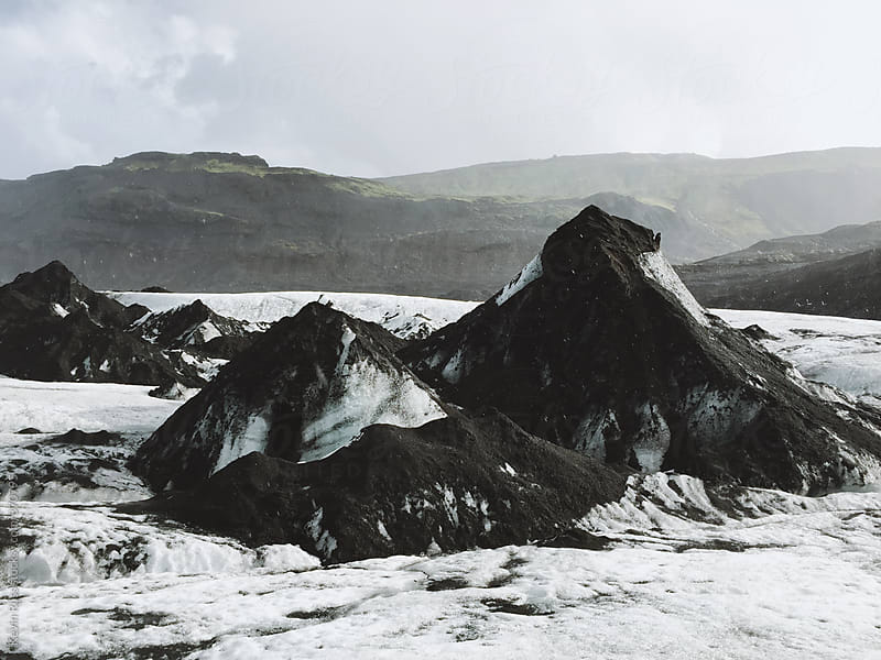 Black Mountain Peaks in Iceland by Kevin Russ for Stocksy United