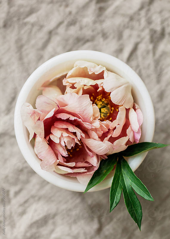 bowl filled with pink peonies on a linen cloth by Kelly Knox for Stocksy United