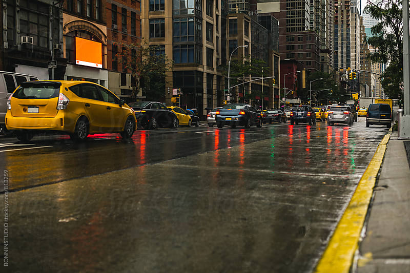 New York street on a rainy day. by BONNINSTUDIO for Stocksy United