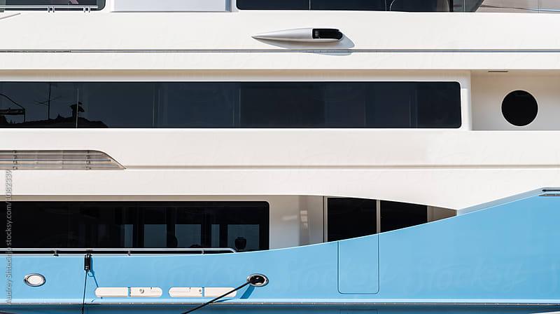 Detail of cruiser/yacht ship on dock  by Audrey Shtecinjo for Stocksy United