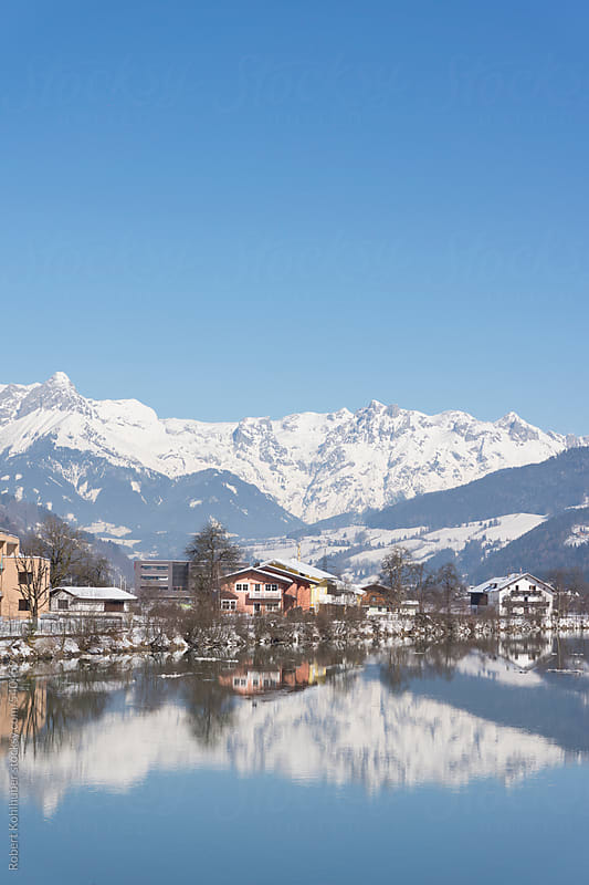 Austrian city of St. Johann im Pongau in winter by Robert Kohlhuber for Stocksy United