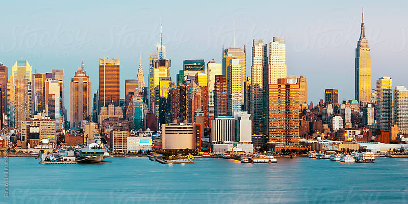 View of Midtown Manhattan across the Hudson River, Manhattan, New York City, New York, United States of America  by Gavin Hellier for Stocksy United
