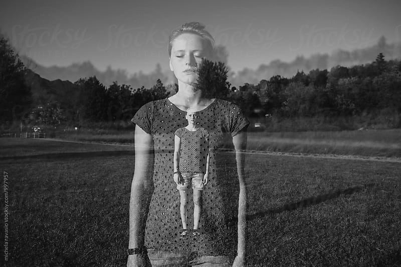 Double exposure of teenager in nature by michela ravasio for Stocksy United