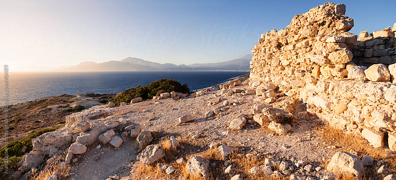 Old ruins on top of a hill on the south coast of Crete (Greece) by Ivan Bastien for Stocksy United