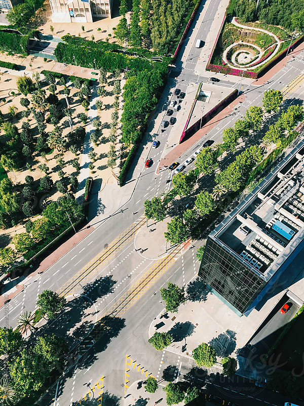 Overhead Shot of Green Urban City Part by Julien L. Balmer for Stocksy United