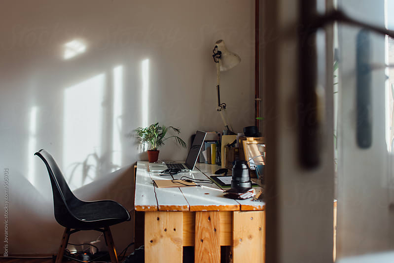 Minimalistic workspace by Boris Jovanovic for Stocksy United