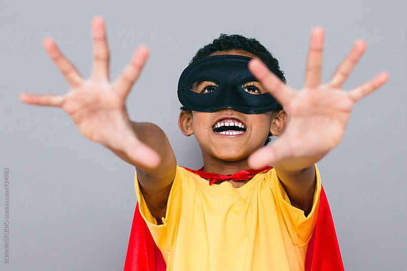 Smiling little boy with Superhero costume. by BONNINSTUDIO for Stocksy United
