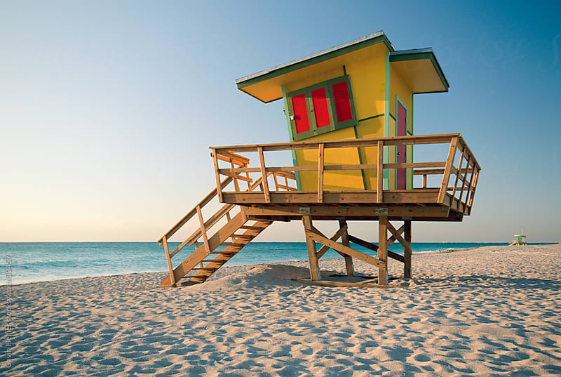Lifeguard hut in art deco style, South Beach, Miami Beach, Miami, Florida, United States of America by Gavin Hellier for Stocksy United