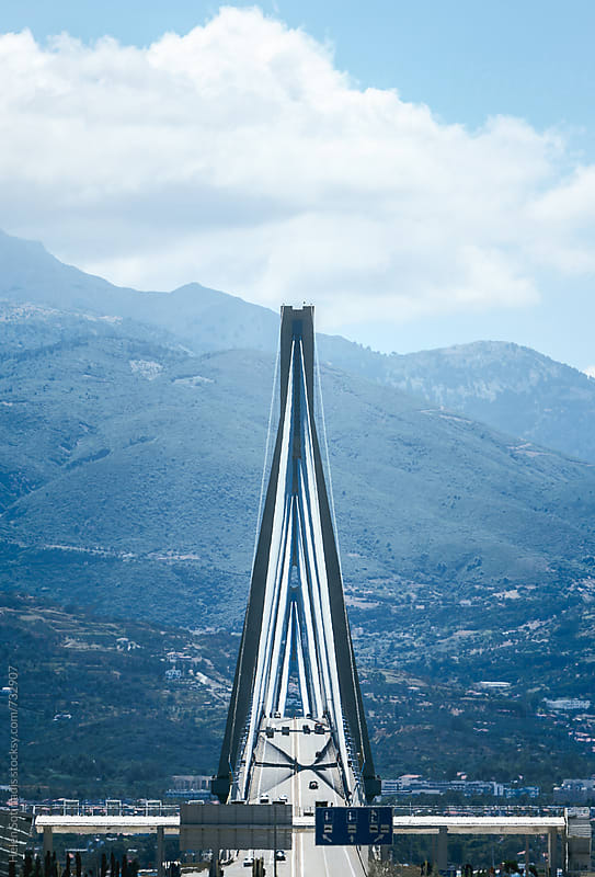 Symmetrical Lengthwise View of a Suspension Bridge by Helen Sotiriadis for Stocksy United