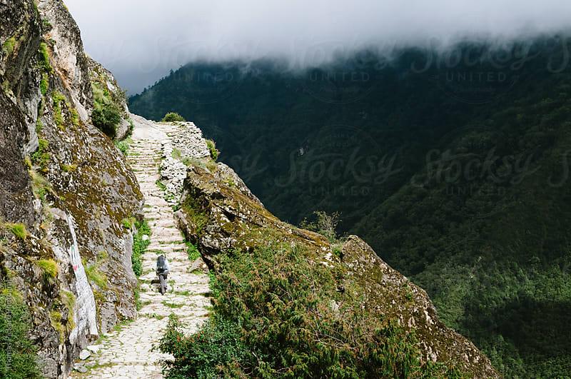 Female trekker climbing steps on route to Tengboche, Everest Region, Sagarmatha National Park, Nepal. by Thomas Pickard Photography Ltd. for Stocksy United