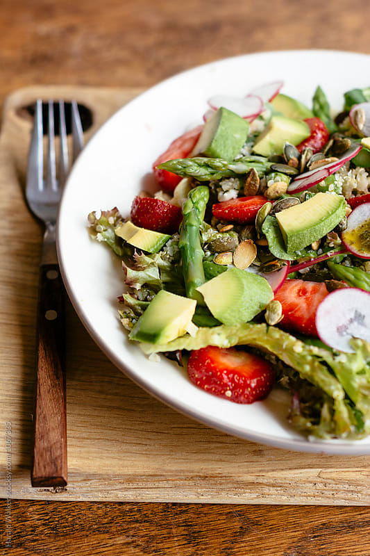 Quinoa & Cauliflower Salad with Asparagus & Strawberries by Harald Walker for Stocksy United